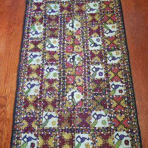 Vtg Pakistani Hand Embroidered Tapestry Hanging